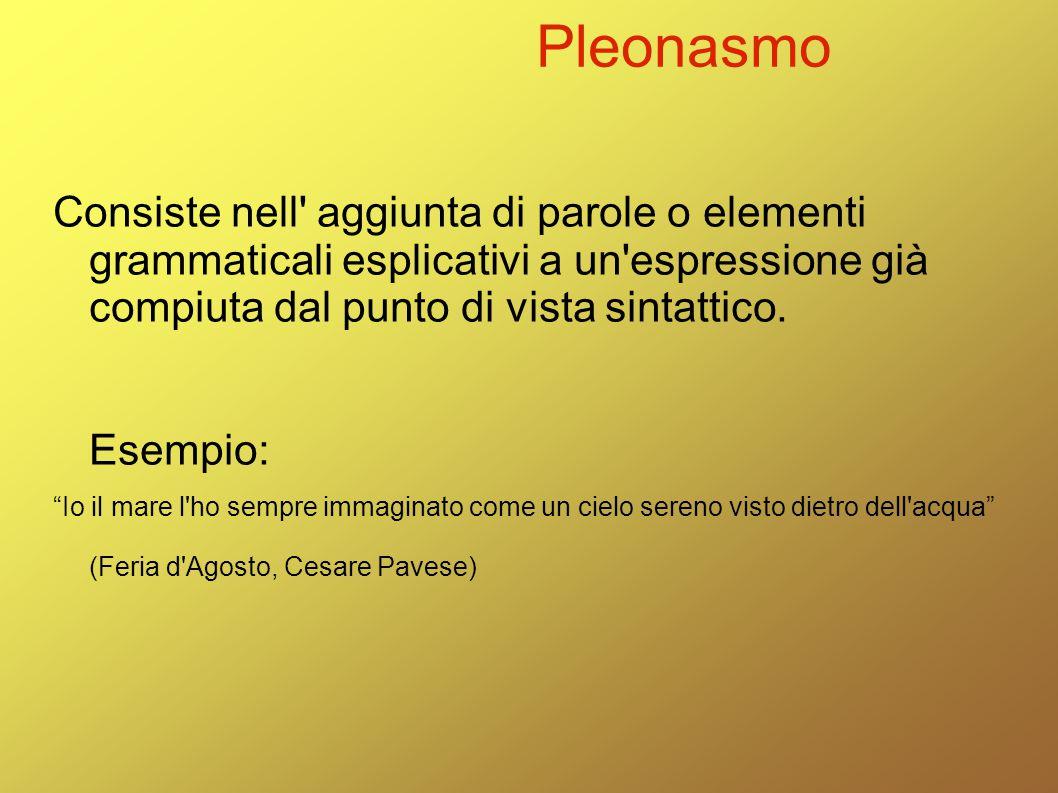 Pleonasmo Consiste nell' aggiunta di parole o elementi grammaticali esplicativi a un'espressione già compiuta dal punto di vista sintattico. Esempio: