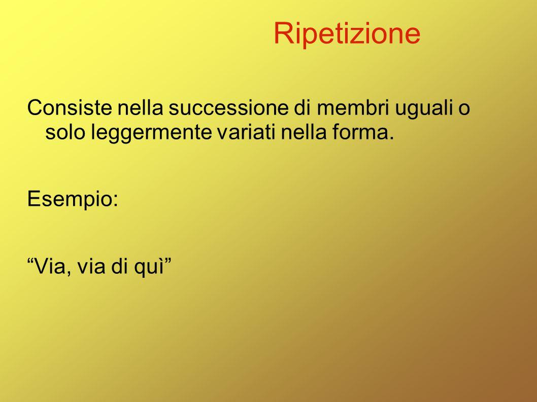 """Ripetizione Consiste nella successione di membri uguali o solo leggermente variati nella forma. Esempio: """"Via, via di quì"""""""