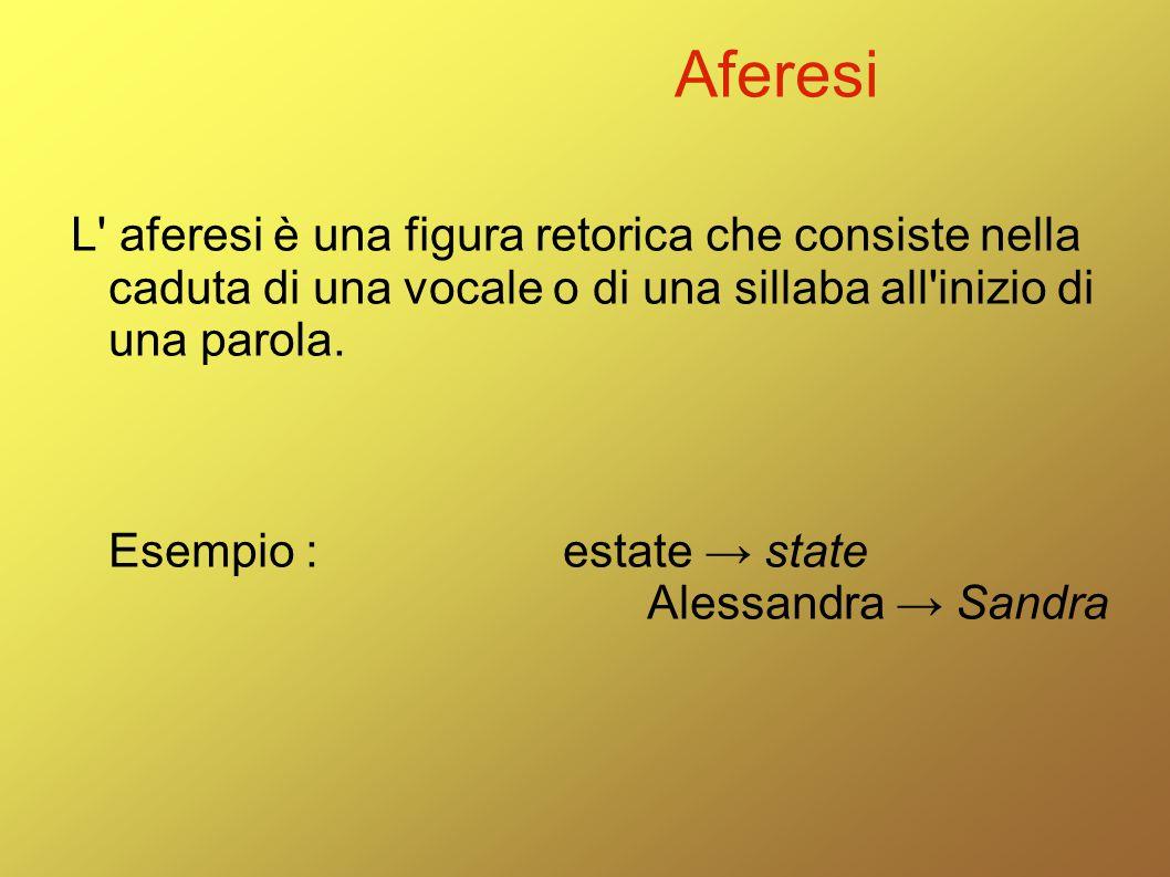 Aferesi L' aferesi è una figura retorica che consiste nella caduta di una vocale o di una sillaba all'inizio di una parola. Esempio :estate → state Al