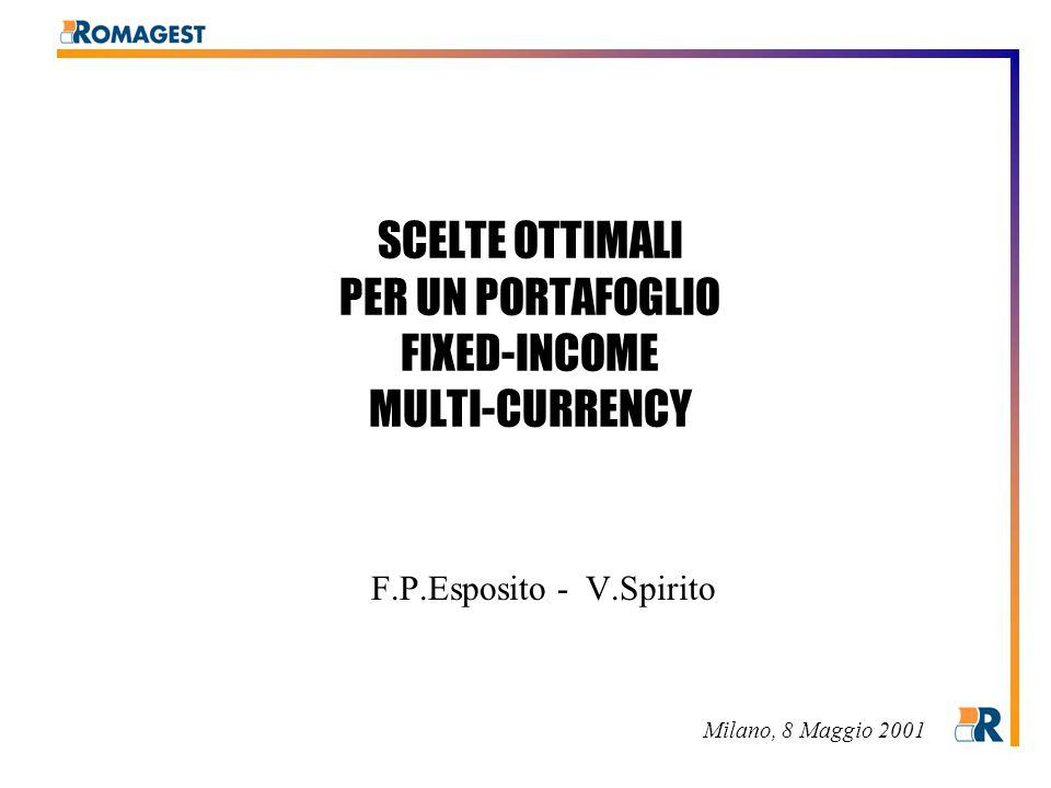 SCELTE OTTIMALI PER UN PORTAFOGLIO FIXED-INCOME MULTI-CURRENCY F.P.Esposito - V.Spirito Milano, 8 Maggio 2001