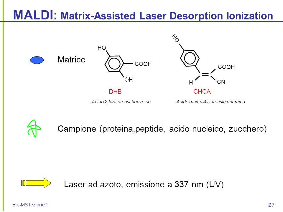 Bio-MS lezione 1 27 MALDI: Matrix-Assisted Laser Desorption Ionization Matrice Campione (proteina,peptide, acido nucleico, zucchero) Laser ad azoto, e