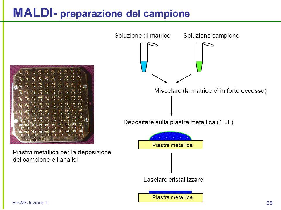 Bio-MS lezione 1 28 MALDI- preparazione del campione Piastra metallica per la deposizione del campione e l'analisi Soluzione di matriceSoluzione campi