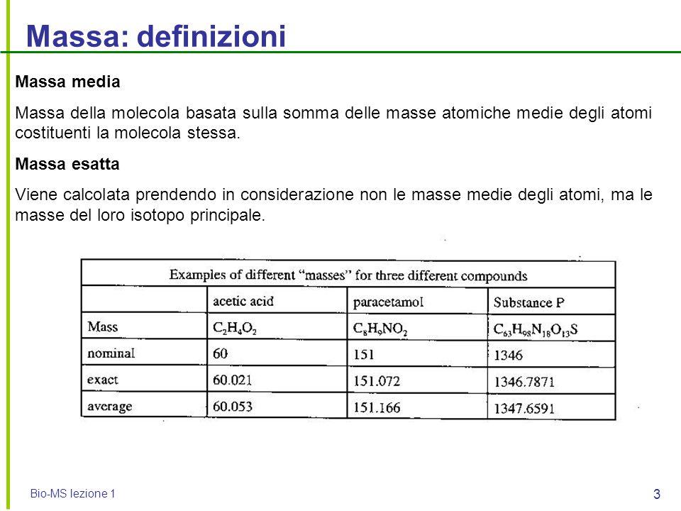 Bio-MS lezione 1 3 Massa: definizioni Massa media Massa della molecola basata sulla somma delle masse atomiche medie degli atomi costituenti la moleco