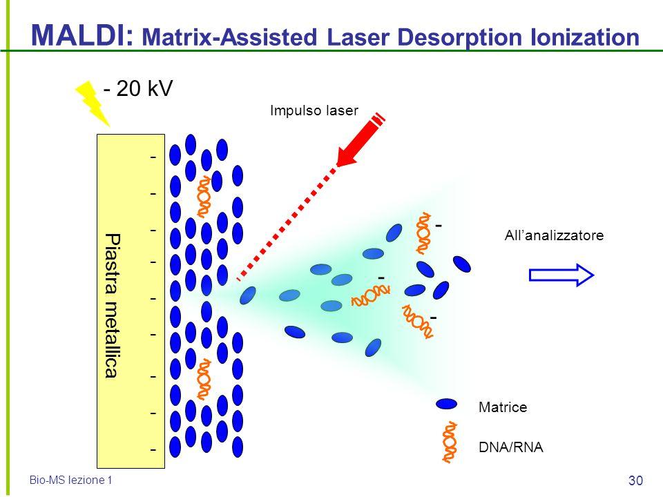 Bio-MS lezione 1 30 MALDI: Matrix-Assisted Laser Desorption Ionization - - - - - - - - - DNA/RNA Matrice Impulso laser - 20 kV All'analizzatore Piastr