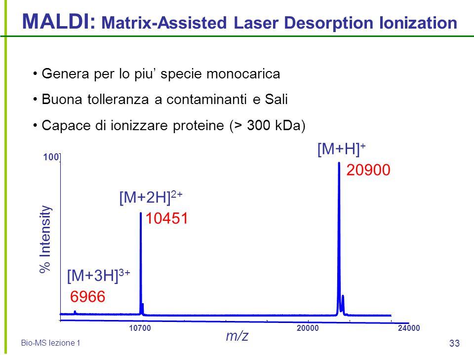 Bio-MS lezione 1 33 MALDI: Matrix-Assisted Laser Desorption Ionization 1070020000 24000 m/z 0 100 % Intensity 20900 10451 Genera per lo piu' specie mo