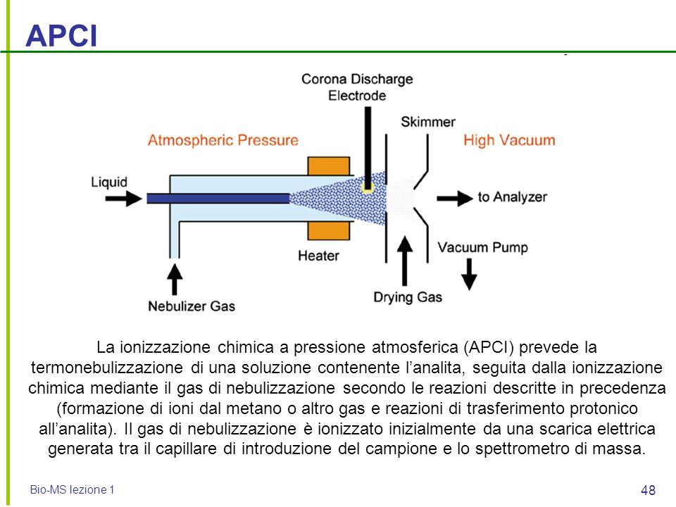 Bio-MS lezione 1 48 APCI La ionizzazione chimica a pressione atmosferica (APCI) prevede la termonebulizzazione di una soluzione contenente l'analita,