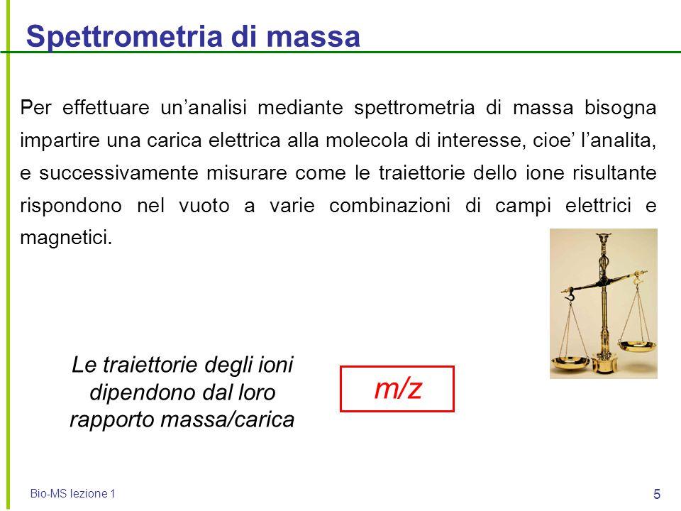 Bio-MS lezione 1 5 Spettrometria di massa Per effettuare un'analisi mediante spettrometria di massa bisogna impartire una carica elettrica alla moleco