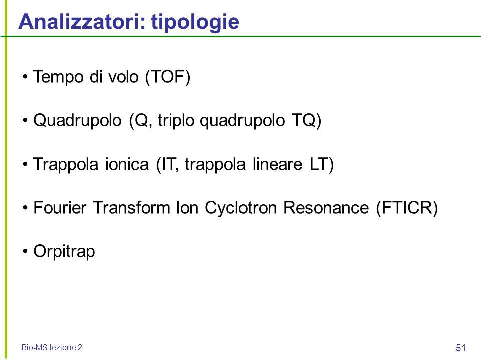 Bio-MS lezione 2 51 Analizzatori: tipologie Tempo di volo (TOF) Quadrupolo (Q, triplo quadrupolo TQ) Trappola ionica (IT, trappola lineare LT) Fourier