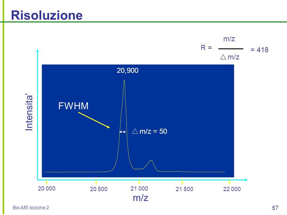 Bio-MS lezione 2 57 Risoluzione m/z Intensita' m/z = 50 m/z = 418 20,900 R = 20 000 20 500 21 000 21 50022 000 FWHM
