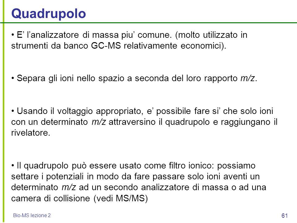 Bio-MS lezione 2 61 Quadrupolo E' l'analizzatore di massa piu' comune. (molto utilizzato in strumenti da banco GC-MS relativamente economici). Separa