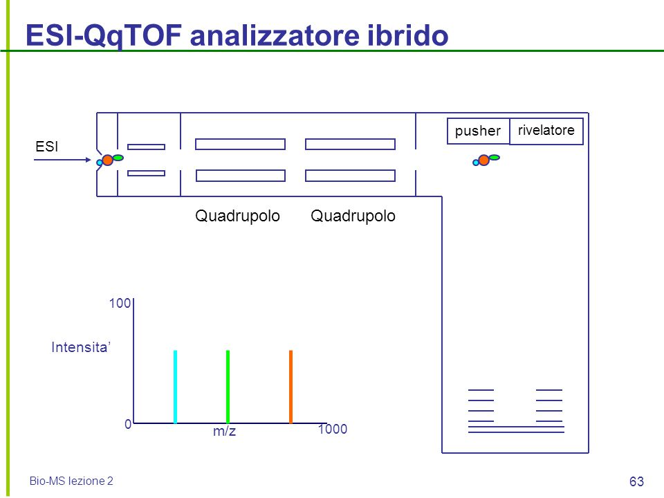 Bio-MS lezione 2 63 ESI-QqTOF analizzatore ibrido pusher rivelatore ESI m/z Intensita' 0 100 1000 Quadrupolo