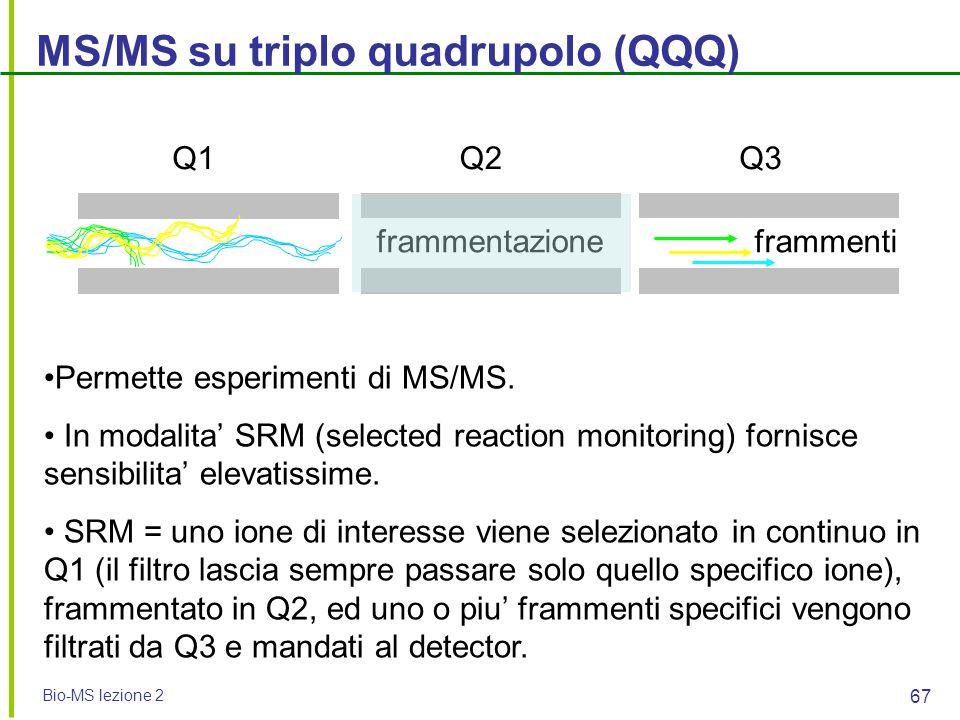 Bio-MS lezione 2 67 MS/MS su triplo quadrupolo (QQQ) Permette esperimenti di MS/MS. In modalita' SRM (selected reaction monitoring) fornisce sensibili