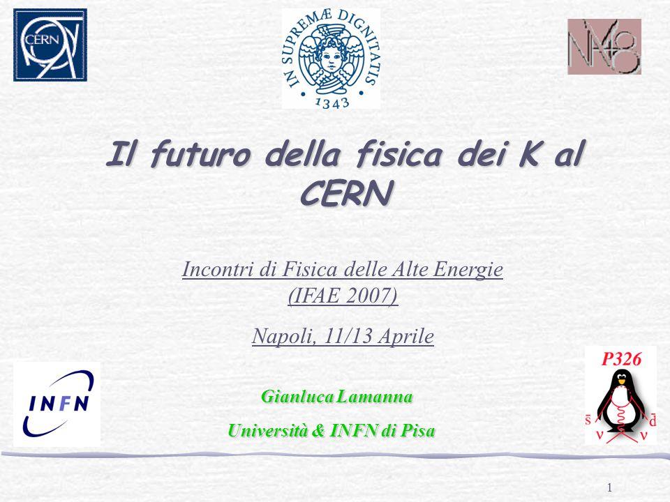 1 Il futuro della fisica dei K al CERN Incontri di Fisica delle Alte Energie (IFAE 2007) Napoli, 11/13 Aprile Gianluca Lamanna Università & INFN di Pisa Università & INFN di Pisa