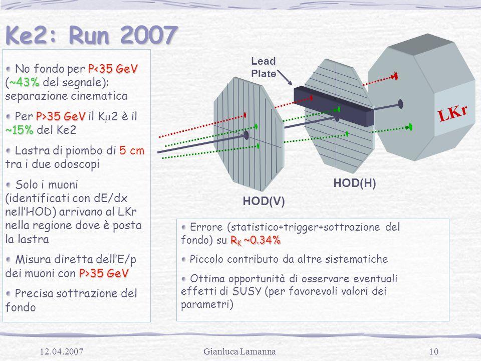 10Gianluca Lamanna12.04.2007 Ke2: Run 2007 LKr HOD(V) HOD(H) Lead Plate P<35 GeV ~43% No fondo per P<35 GeV (~43% del segnale): separazione cinematica