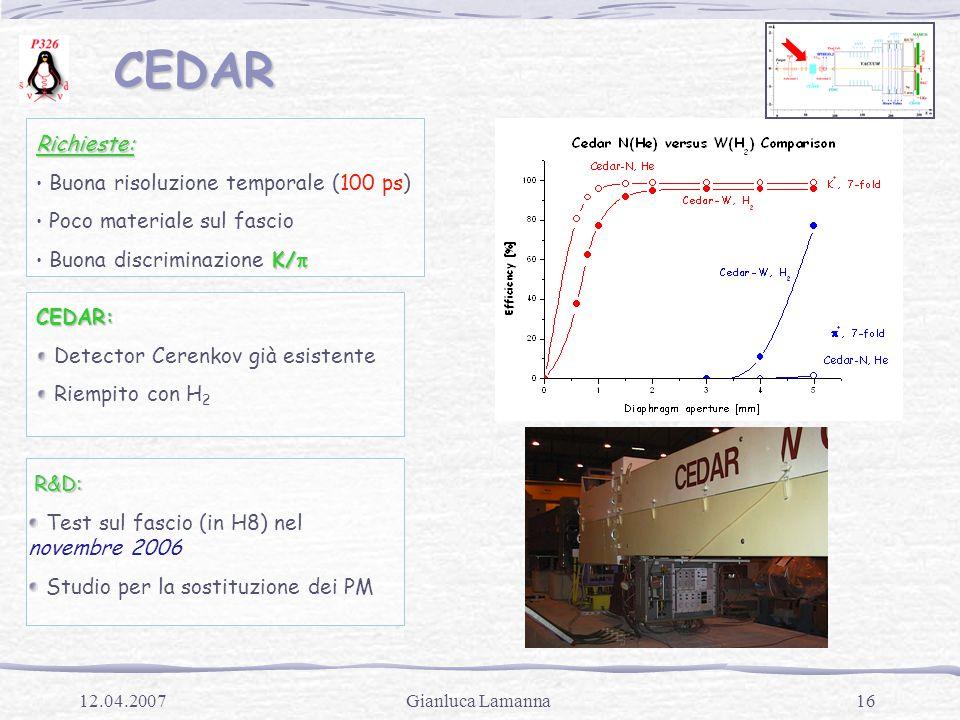 16Gianluca Lamanna12.04.2007 CEDAR CEDAR Richieste: Buona risoluzione temporale (100 ps) Poco materiale sul fascio K/  Buona discriminazione K/  CED
