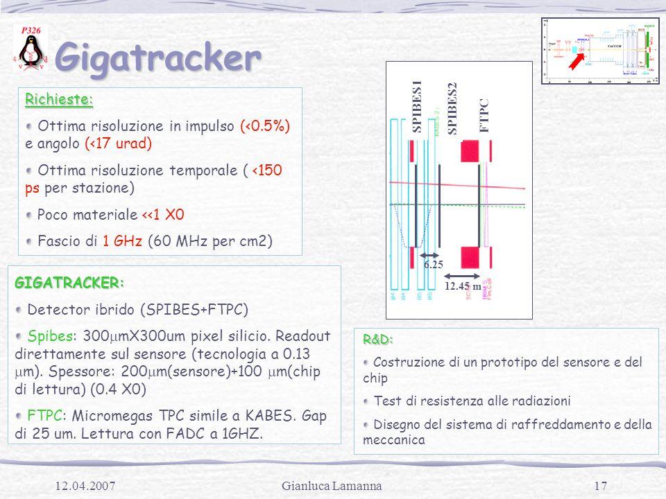 17Gianluca Lamanna12.04.2007 Gigatracker Gigatracker SPIBES1 SPIBES2 FTPC 6.25 12.45 mRichieste: Ottima risoluzione in impulso (<0.5%) e angolo (<17 urad) Ottima risoluzione temporale ( <150 ps per stazione) Poco materiale <<1 X0 Fascio di 1 GHz (60 MHz per cm2)GIGATRACKER: Detector ibrido (SPIBES+FTPC) Spibes: 300  mX300um pixel silicio.