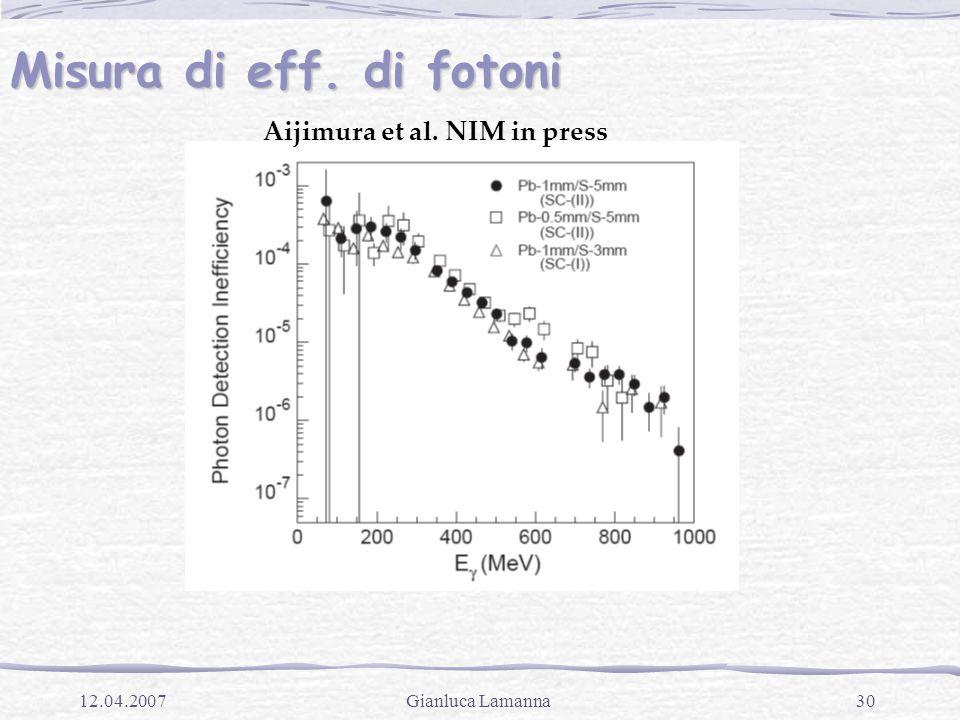 30Gianluca Lamanna12.04.2007 Misura di eff. di fotoni Aijimura et al. NIM in press