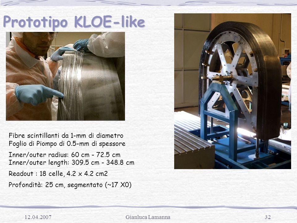 32Gianluca Lamanna12.04.2007 Prototipo KLOE-like Fibre scintillanti da 1-mm di diametro Foglio di Piompo di 0.5-mm di spessore Inner/outer radius: 60 cm - 72.5 cm Inner/outer length: 309.5 cm - 348.8 cm Readout : 18 celle, 4.2 x 4.2 cm2 Profondità: 25 cm, segmentato (~17 X0)