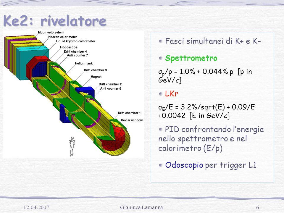 6Gianluca Lamanna12.04.2007 Ke2: rivelatore Fasci simultanei di K+ e K- Spettrometro σ p /p = 1.0% + 0.044% p [p in GeV/c] LKr σ E /E = 3.2%/sqrt(E) + 0.09/E +0.0042 [E in GeV/c] PID confrontando l'energia nello spettrometro e nel calorimetro (E/p) Odoscopio per trigger L1