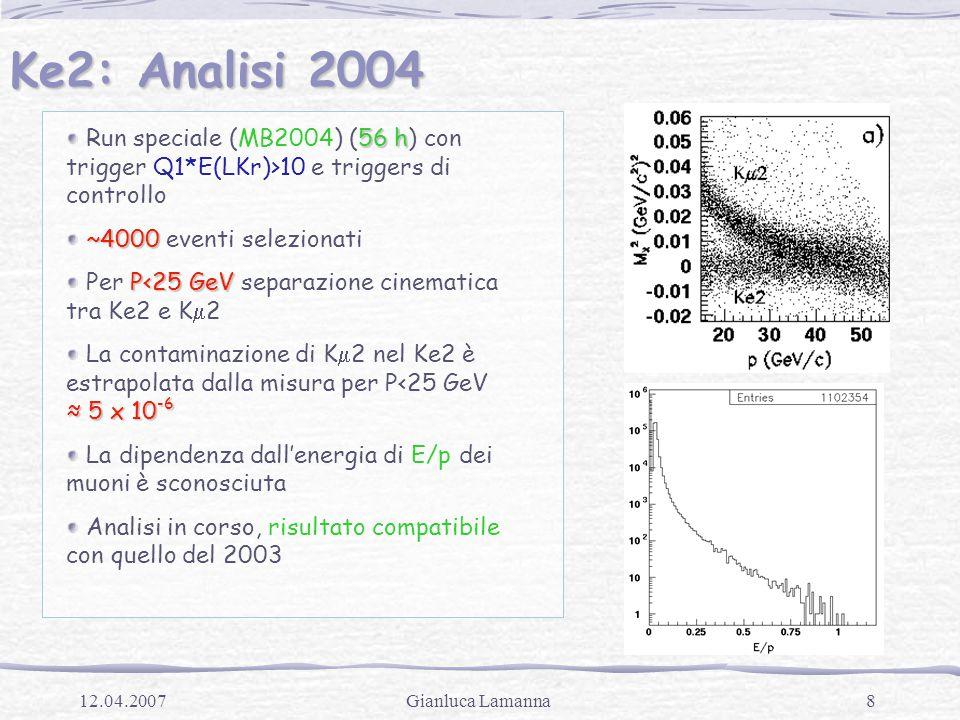 8Gianluca Lamanna12.04.2007 Ke2: Analisi 2004 56 h Run speciale (MB2004) (56 h) con trigger Q1*E(LKr)>10 e triggers di controllo ~4000 ~4000 eventi selezionati P<25 GeV Per P<25 GeV separazione cinematica tra Ke2 e K  2 ≈ 5 x 10 -6 La contaminazione di K  2 nel Ke2 è estrapolata dalla misura per P<25 GeV ≈ 5 x 10 -6 La dipendenza dall'energia di E/p dei muoni è sconosciuta Analisi in corso, risultato compatibile con quello del 2003