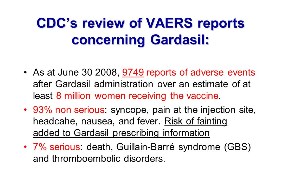 CDC's review of VAERS reports concerning Gardasil: As at June 30 2008, 9749 reports of adverse events after Gardasil administration over an estimate o
