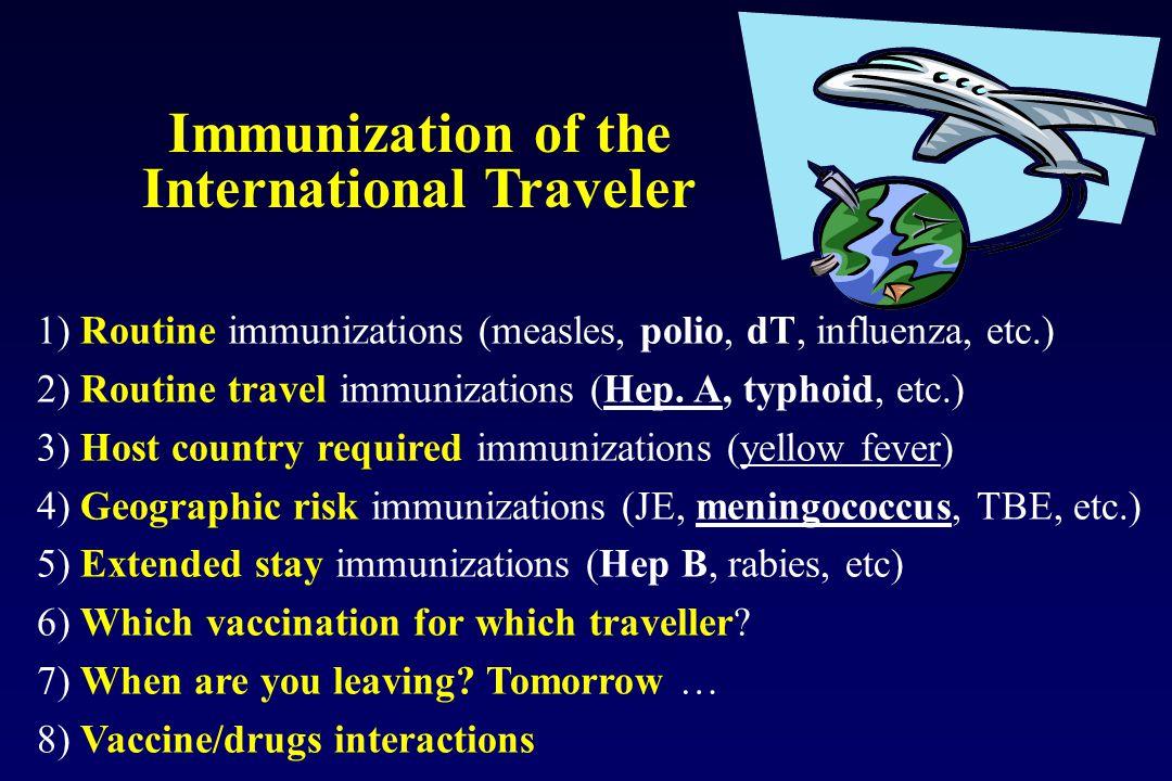 1) Routine immunizations (measles, polio, dT, influenza, etc.) 2) Routine travel immunizations (Hep. A, typhoid, etc.) 3) Host country required immuni