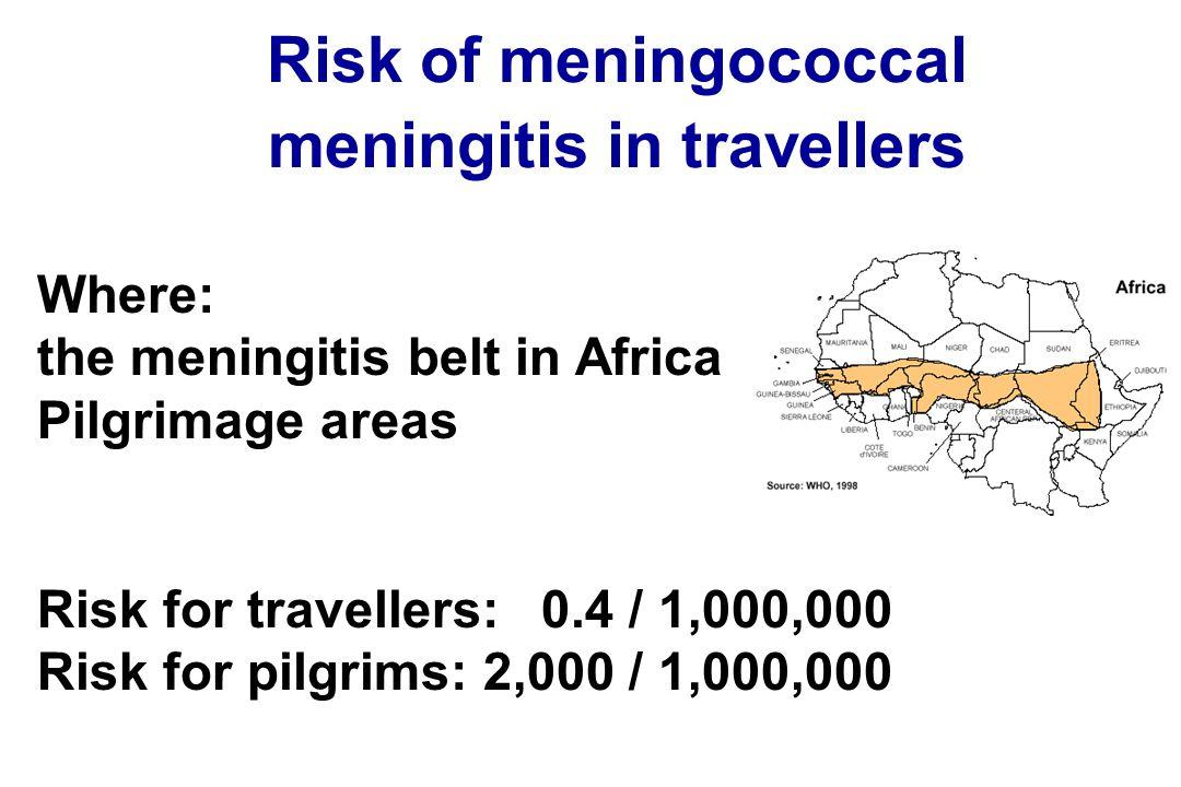 Risk of meningococcal meningitis in travellers Where: the meningitis belt in Africa Pilgrimage areas Risk for travellers: 0.4 / 1,000,000 Risk for pil
