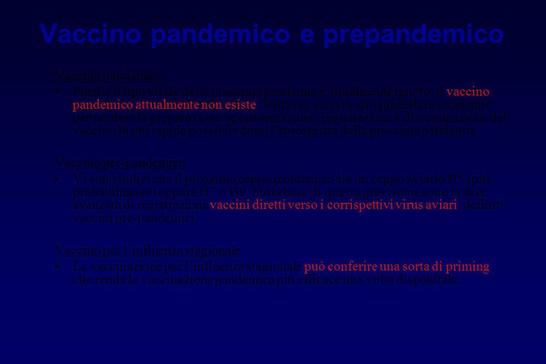 Vaccino pandemico e prepandemico Vaccino pandemico Poiché il tipo virale della prossima pandemia è attualmente ignoto, il vaccino pandemico attualment