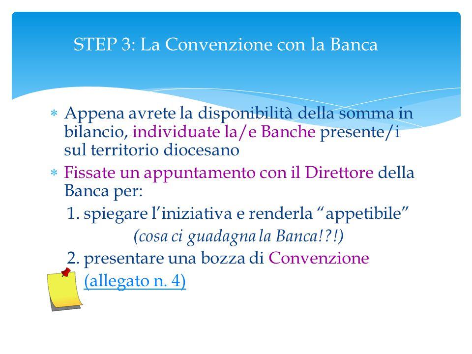 STEP 3: La Convenzione con la Banca  Appena avrete la disponibilità della somma in bilancio, individuate la/e Banche presente/i sul territorio dioces