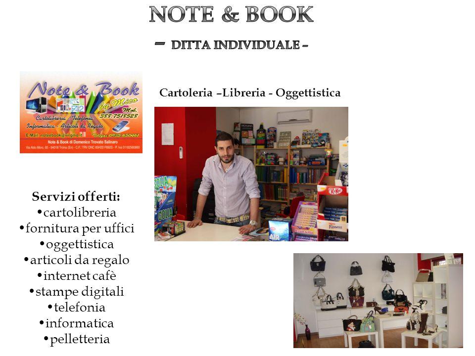 Servizi offerti: cartolibreria fornitura per uffici oggettistica articoli da regalo internet cafè stampe digitali telefonia informatica pelletteria Ca