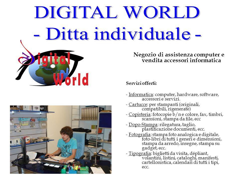 Negozio di assistenza computer e vendita accessori informatica Servizi offerti: - Informatica: computer, hardware, software, accessori e servizi. - Ca
