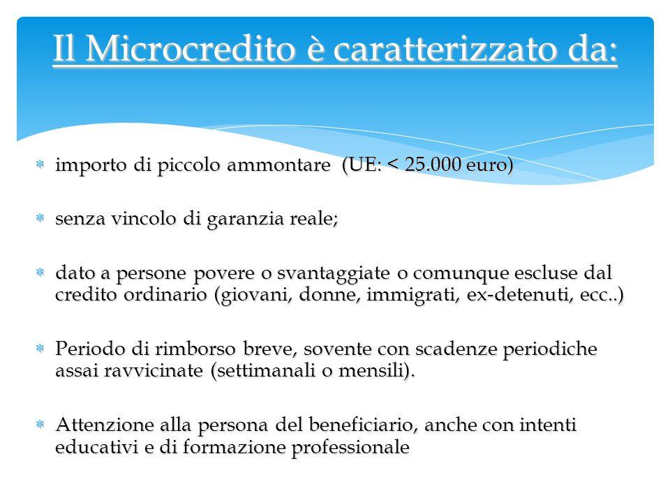  importo di piccolo ammontare (UE: < 25.000 euro)  senza vincolo di garanzia reale;  dato a persone povere o svantaggiate o comunque escluse dal cr