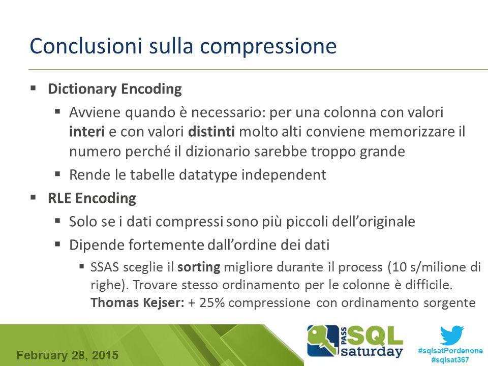 February 28, 2015 #sqlsatPordenone #sqlsat367 Conclusioni sulla compressione  Dictionary Encoding  Avviene quando è necessario: per una colonna con
