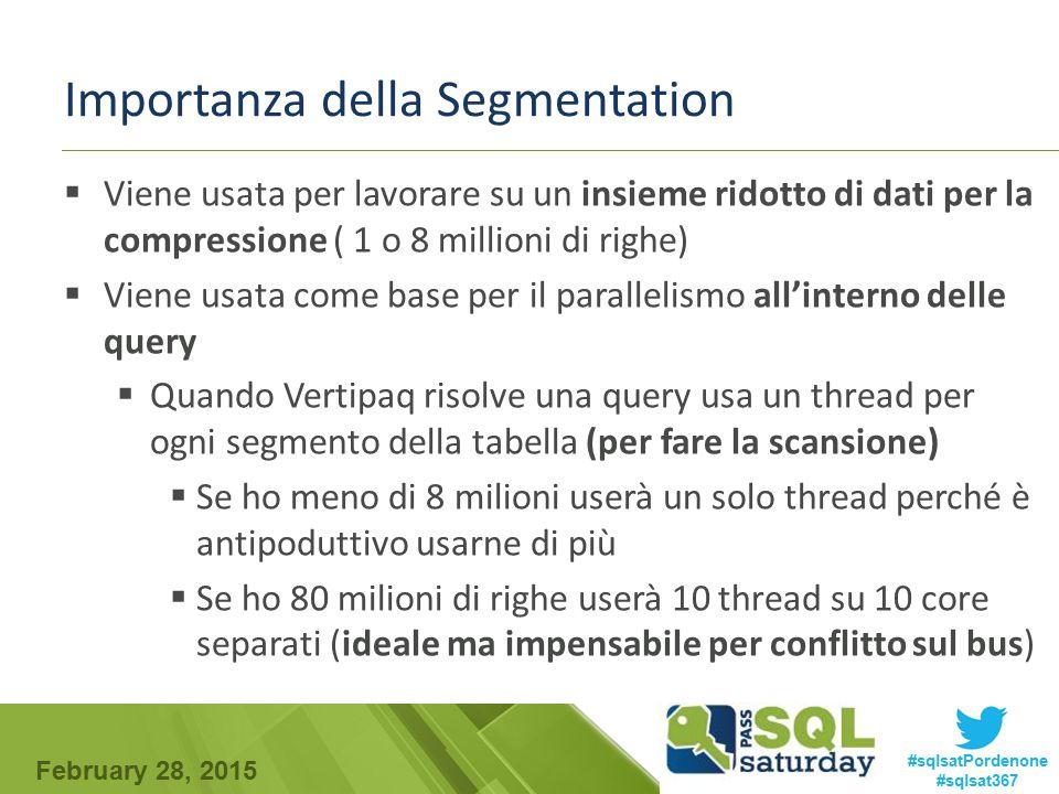 February 28, 2015 #sqlsatPordenone #sqlsat367 Importanza della Segmentation  Viene usata per lavorare su un insieme ridotto di dati per la compressio
