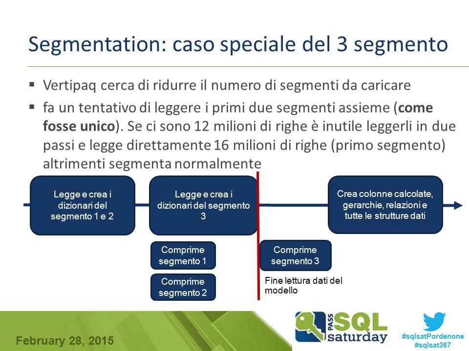 February 28, 2015 #sqlsatPordenone #sqlsat367 Segmentation: caso speciale del 3 segmento  Vertipaq cerca di ridurre il numero di segmenti da caricare