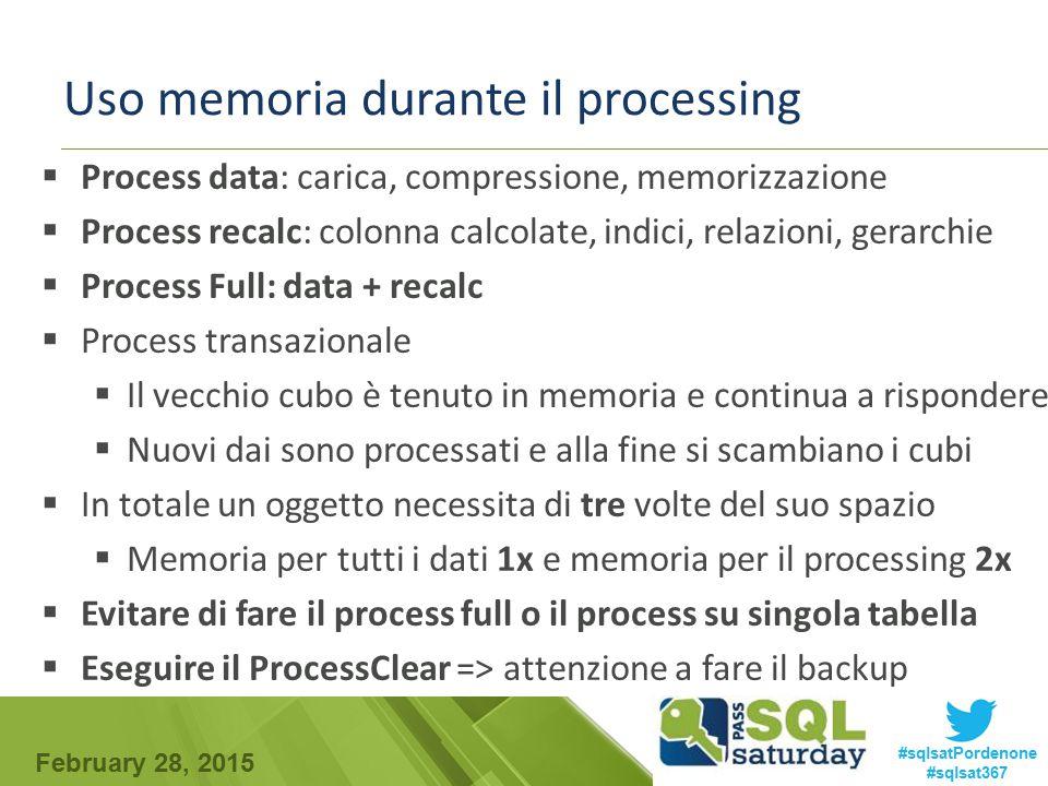 February 28, 2015 #sqlsatPordenone #sqlsat367 Uso memoria durante il processing  Process data: carica, compressione, memorizzazione  Process recalc: