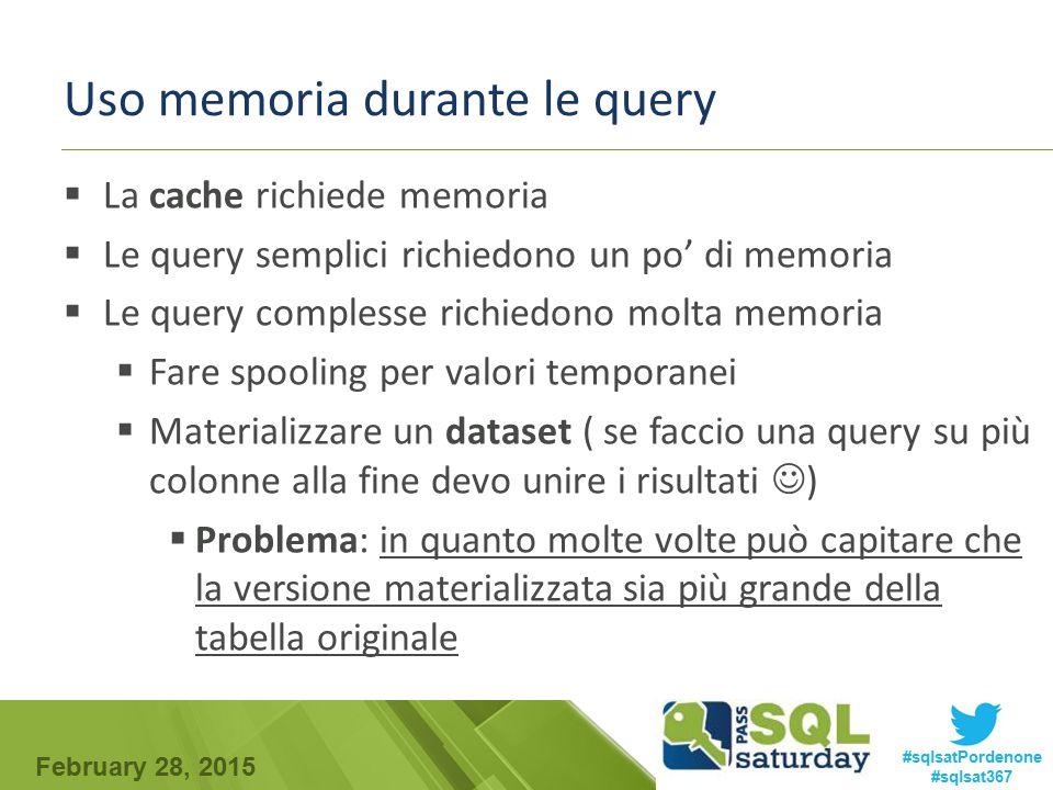 February 28, 2015 #sqlsatPordenone #sqlsat367 Uso memoria durante le query  La cache richiede memoria  Le query semplici richiedono un po' di memori