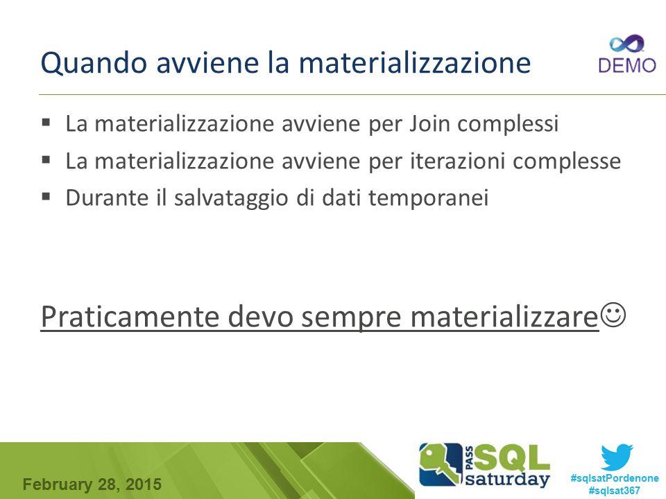 February 28, 2015 #sqlsatPordenone #sqlsat367 Quando avviene la materializzazione  La materializzazione avviene per Join complessi  La materializzaz