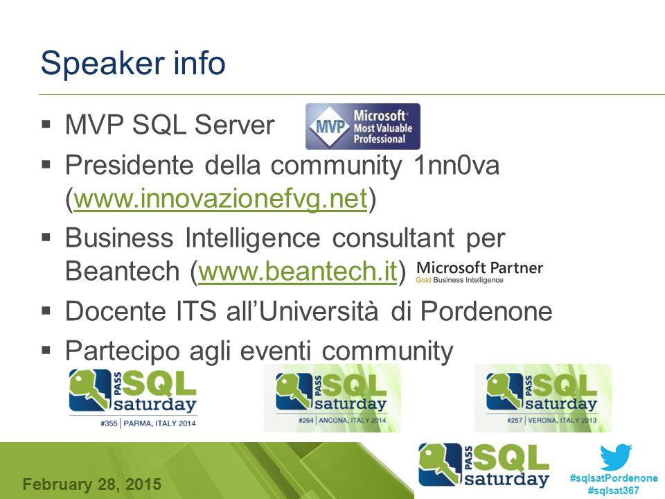 February 28, 2015 #sqlsatPordenone #sqlsat367 Speaker info  MVP SQL Server  Presidente della community 1nn0va (www.innovazionefvg.net)www.innovazion