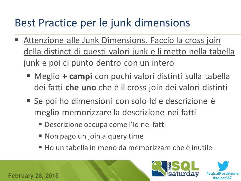 February 28, 2015 #sqlsatPordenone #sqlsat367 Best Practice per le junk dimensions  Attenzione alle Junk Dimensions. Faccio la cross join della disti