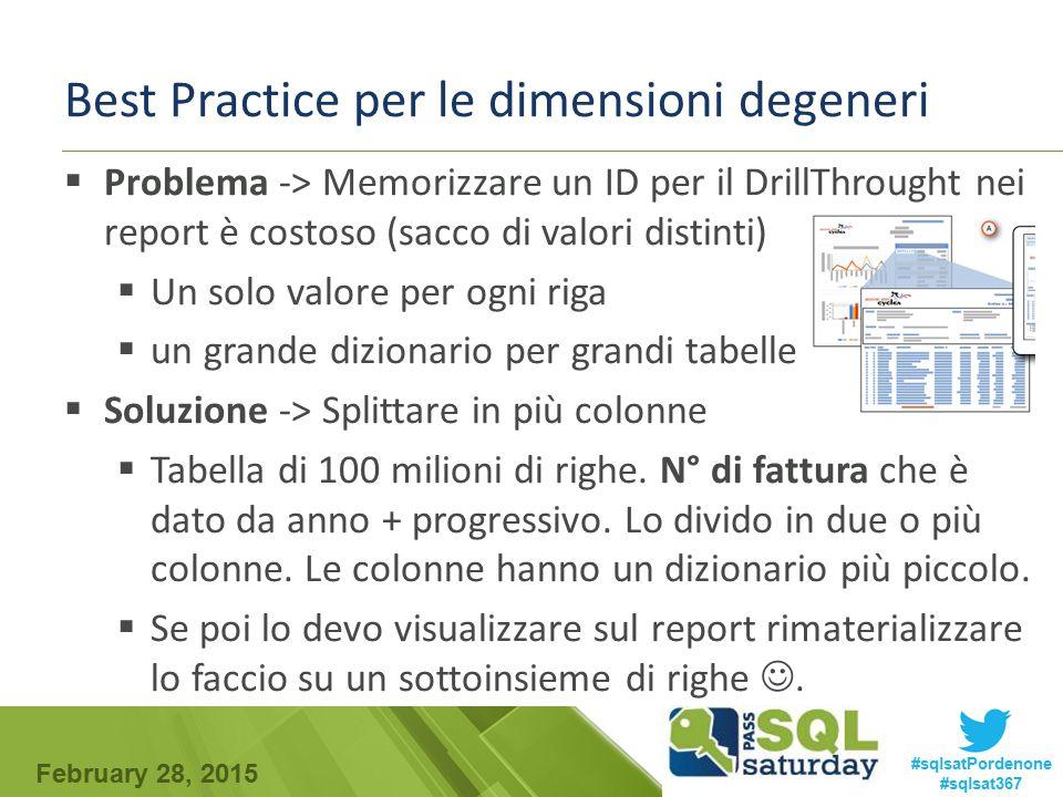 February 28, 2015 #sqlsatPordenone #sqlsat367 Best Practice per le dimensioni degeneri  Problema -> Memorizzare un ID per il DrillThrought nei report