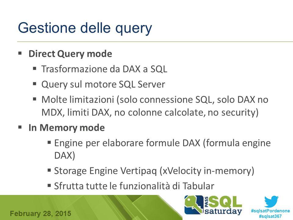 February 28, 2015 #sqlsatPordenone #sqlsat367 Gestione delle query  PROCESS = Lettura dalla sorgente dati  Vertipaq contiene il risultato del processing del database DAX/MDX query Analysis Services 2012 Tabular Model In-Memory Mode (Motore di query) DirectQuery Mode (Motore di query) Vertipaq Storage External Data Sources SQL Query Query Storage engine query Process Storage engine query
