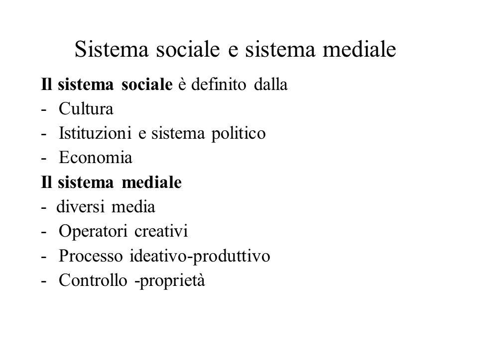 Sistema sociale e sistema mediale Il sistema sociale è definito dalla -Cultura -Istituzioni e sistema politico -Economia Il sistema mediale - diversi media -Operatori creativi -Processo ideativo-produttivo -Controllo -proprietà
