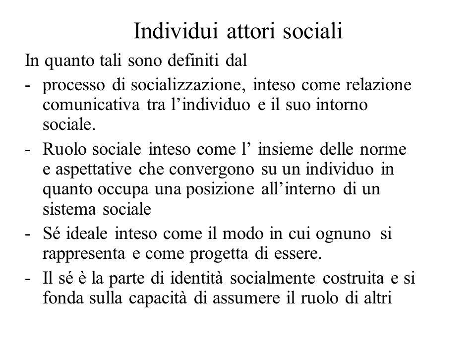 Individui attori sociali In quanto tali sono definiti dal -processo di socializzazione, inteso come relazione comunicativa tra l'individuo e il suo intorno sociale.