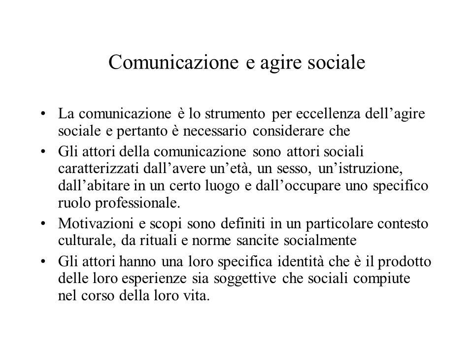 Comunicazione e agire sociale La comunicazione è lo strumento per eccellenza dell'agire sociale e pertanto è necessario considerare che Gli attori della comunicazione sono attori sociali caratterizzati dall'avere un'età, un sesso, un'istruzione, dall'abitare in un certo luogo e dall'occupare uno specifico ruolo professionale.