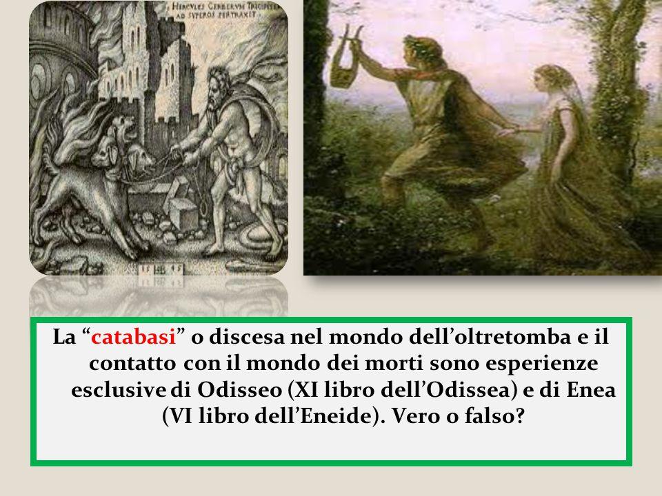 """La """"catabasi"""" o discesa nel mondo dell'oltretomba e il contatto con il mondo dei morti sono esperienze esclusive di Odisseo (XI libro dell'Odissea) e"""
