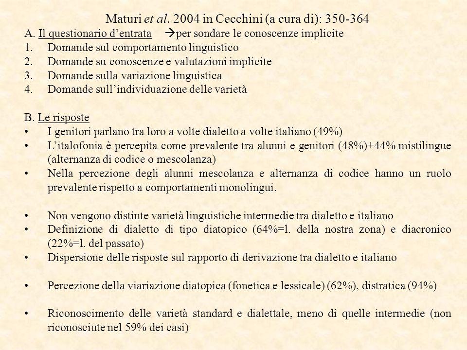 Maturi et al. 2004 in Cecchini (a cura di): 350-364 A.