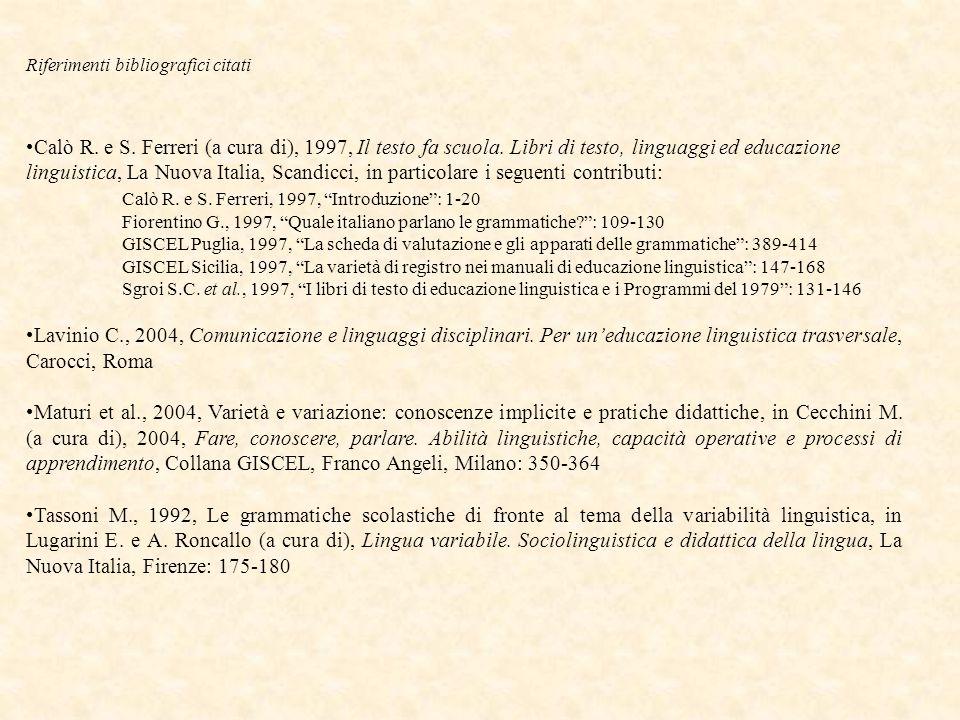 Riferimenti bibliografici citati Calò R. e S. Ferreri (a cura di), 1997, Il testo fa scuola.