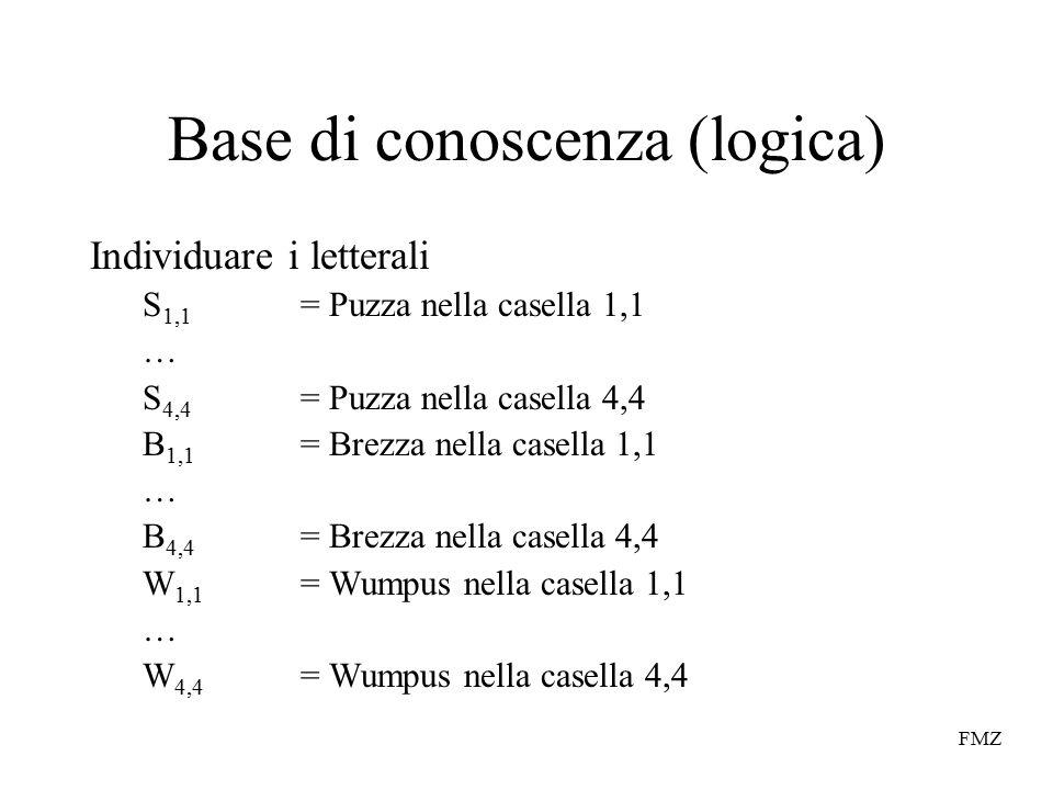 FMZ Base di conoscenza (logica) Individuare i letterali S 1,1 = Puzza nella casella 1,1 … S 4,4 = Puzza nella casella 4,4 B 1,1 = Brezza nella casella 1,1 … B 4,4 = Brezza nella casella 4,4 W 1,1 = Wumpus nella casella 1,1 … W 4,4 = Wumpus nella casella 4,4