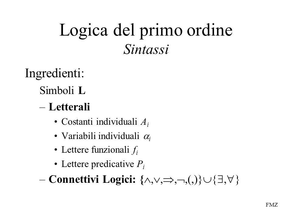 FMZ Logica del primo ordine Sintassi Ingredienti: Simboli L –Letterali Costanti individuali A i Variabili individuali  i Lettere funzionali f i Lettere predicative P i –Connettivi Logici: { , , , ,(,)} , 